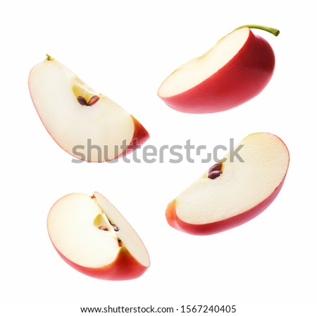 Different angle of slices red apple isolated on white background Stock photo ©