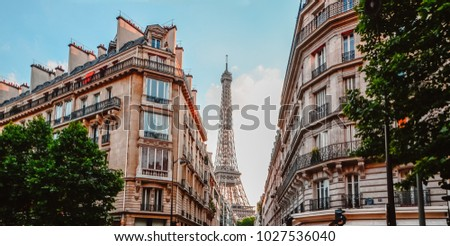 Different angle of view for the Eiffle Tower, taken from paris internal streets.