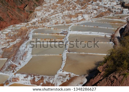 Different angles and perspectives of the evaporation ponds of the salt mines of Maras in Cusco. #1348286627