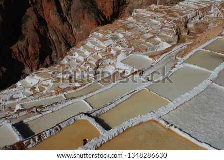 Different angles and perspectives of the evaporation ponds of the salt mines of Maras in Cusco. #1348286630