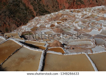 Different angles and perspectives of the evaporation ponds of the salt mines of Maras in Cusco. #1348286633