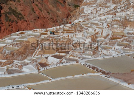 Different angles and perspectives of the evaporation ponds of the salt mines of Maras in Cusco. #1348286636