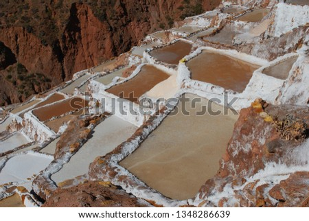 Different angles and perspectives of the evaporation ponds of the salt mines of Maras in Cusco. #1348286639