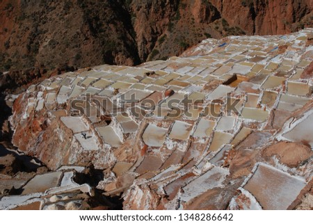 Different angles and perspectives of the evaporation ponds of the salt mines of Maras in Cusco. #1348286642