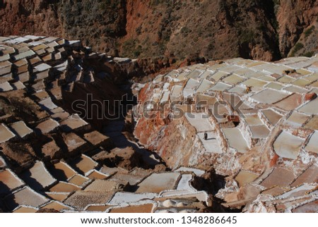 Different angles and perspectives of the evaporation ponds of the salt mines of Maras in Cusco. #1348286645