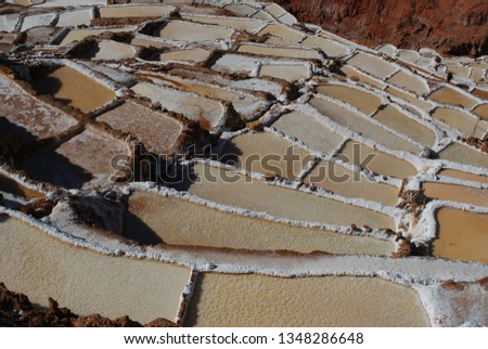 Different angles and perspectives of the evaporation ponds of the salt mines of Maras in Cusco. #1348286648