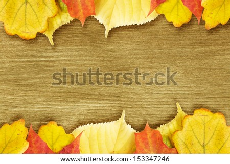 Different autumn leaves opn gold wood plank, autumn theme