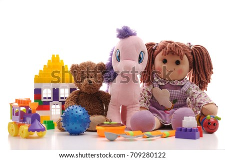 Shutterstock Different baby toys on a white background