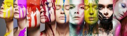 Different beautiful models. beauty collage of beautiful women in paint.Girls in Paint. liquid paint flowing over a beautiful face. Colors