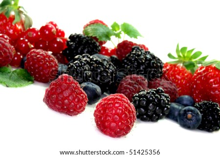 different berries on a white background