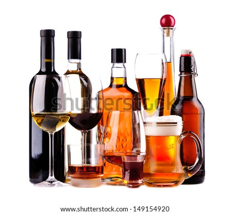 different bottles and glasses of alcoholic drinks isolated on a white background #149154920
