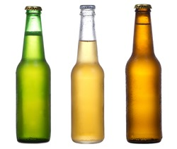 different bottles of beer on a white background