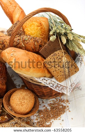 Different bread products in a basket