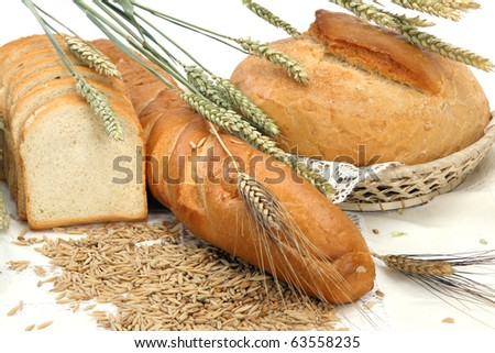 Different bread products on white background