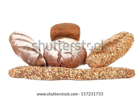 Different brown breads. Isolated on a white background. #157231733