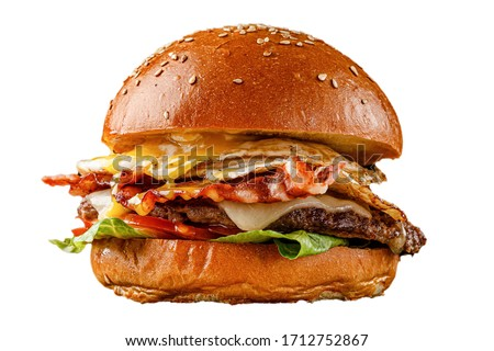 Different burgers for a restaurant menu on a white background. Isolated