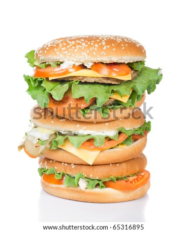 different burgers tower isolated on white