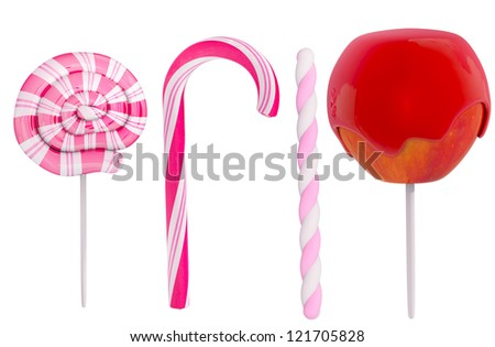 Different candy on white background