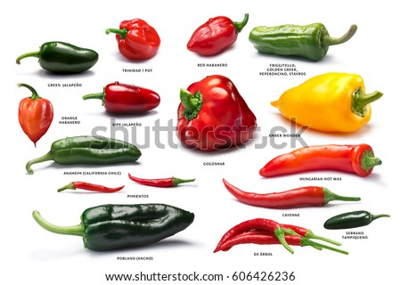 Shutterstock Different Capsicum (peppers) fruits. Clipping path for each pepper, shadows separated