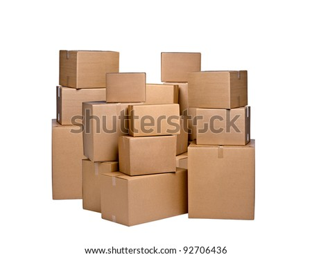 different cardboard boxes on white - stock photo