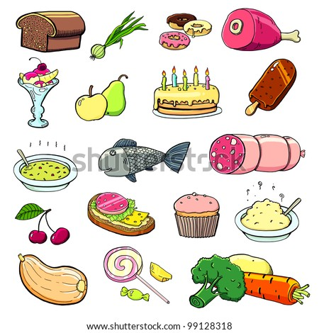 Different cartoon food - stock photo