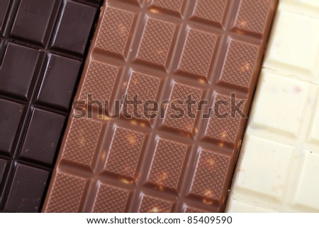 Different chocolate bars  on the table