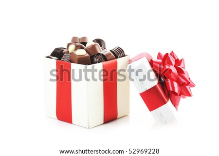 different chocolate in gift box