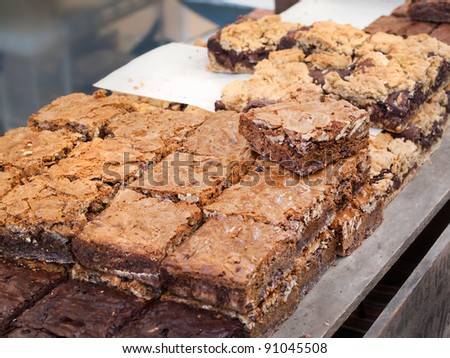 Different Chocolate Nut brownies at the market