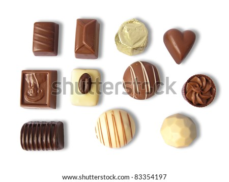 Different chocolates in various shapes, isolated in white