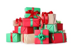 Different Christmas gift boxes on white background