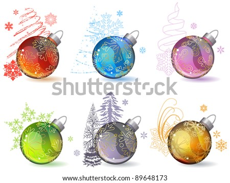 Different christmas glass balls with contour snowflakes
