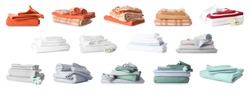 Different clean bed sheets on white background