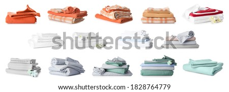 Different clean bed sheets on white background Photo stock ©