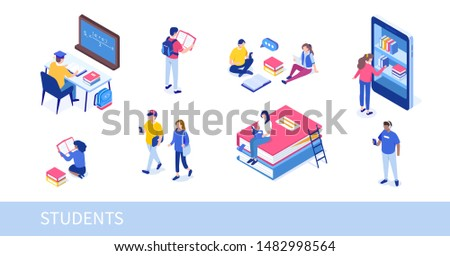 Different college students studying. Can use for web banner, infographics, hero images. Flat isometric  illustration isolated on white background.