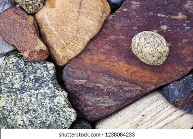 Stock photo of different coloful stones at seaside in Helgeland, Norway, Europe.