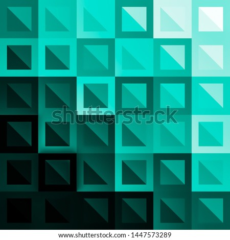 Different Color And shades Square and Triangle in a Square. Shades of Black and Sea green squares. Digital art