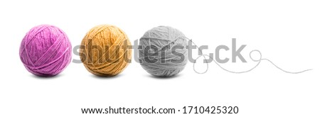 Different color balls of threads wool yarn isolated on white background Stock photo ©