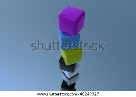 Different color Cube stack in 3D