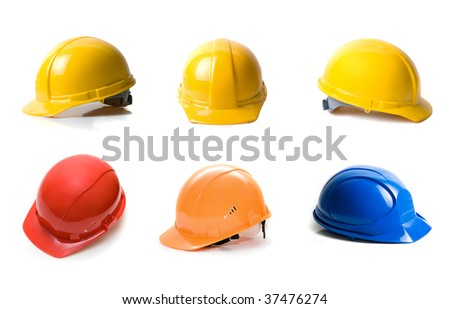 Different color helmets set isolated on white background