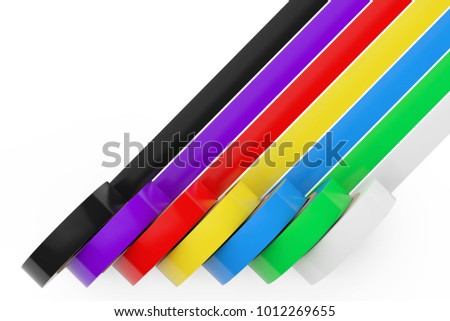 Different Colored Adhesive Insulating Tape on a white background. 3d Rendering.
