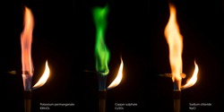 Different colored flames of burning salts. Potassium permangate, copper sulphate and sodium chloride salts combusting in Bunsen burner flame