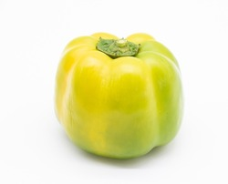different colored of sweet bell peppers (capsicum) isolated on white background.