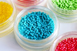 Different colored seed beads, Jewelry Making.