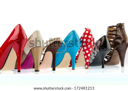 different colored shoes with hiohen paragraphs. isolated on white background