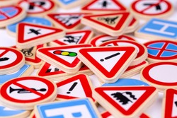 Different colored traffic signs isolated