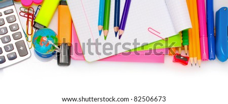 Different colorful stationery isolated on white