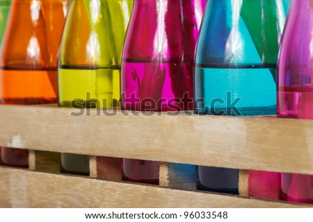Different colorful vases with shallow depth of field