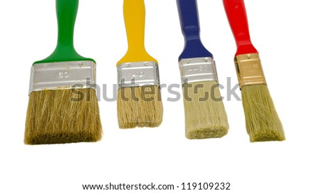 different colors and size paint brushes isolated on white background.