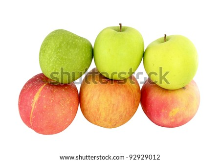 different colors apples on white background