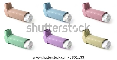 Different colors of asthma texture (inhalers isolated on white)